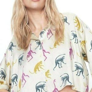 New ZARA Monkey Blouse Top Shirt Button Down